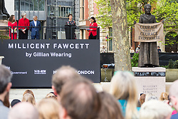 Actress Helen McCrory addresses the crowd.<br /> A statue designed by Turner Prize-winning artist Gillian Wearing OBE of suffragist leader Millicent Fawcett is unveiled in Parliament Square by XXXX. The sculpture is the first-ever monument to a woman and the first designed by a woman to stand within the square and follows the successful campaign by feminist campaigner Caroline Criado-Perez who organised an 85,000 signature petition. London, April 24 2018.