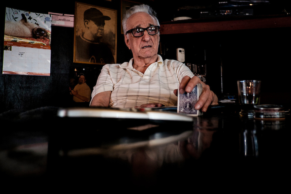"George ""Blackie"" Miller sits in his bar, Mahoney's in West Aliquippa, PA. Miller, who changed his last name from Dokmanovich years ago, was born in West Aliquippa and lived there all of his life. He has seen the town go from boom to bust along with the steel industry. ""This town is done,"" says Miller."