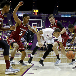 Feb 1, 2017; Baton Rouge, LA, USA; LSU Tigers guard Brandon Sampson (0) is defended by South Carolina Gamecocks forward Chris Silva (30) and guard PJ Dozier (15) and forward Maik Kotsar (21) and guard Sindarius Thornwell (0) during the first half of a game at the Pete Maravich Assembly Center. Mandatory Credit: Derick E. Hingle-USA TODAY Sports
