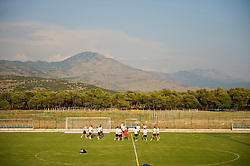 PODGORICA, MONTENEGRO - Monday, August 10, 2009: Wales' players training at the Montenegro Football Association's Technical Centre in Podgorica ahead of the international friendly match against Montenegro. (Photo by David Rawcliffe/Propaganda)