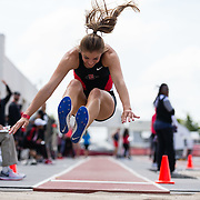 23 March 2018:  Jelena McNown competes in the long jump open event Friday morning at the 40th Annual Aztec Invitational<br /> More game action at sdsuaztecphotos.com