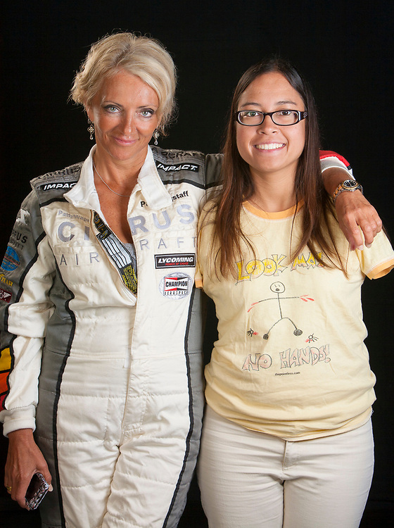Jessica Cox is a pilot who was born without arms, and yet she flies...with her feet!  Pictured here with National Aerobatic Champion Patty Wagstaff.  Created in the Weeks Hangar during AirVenture 2009 in Oshkosh, Wisconsin.