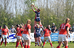Amelia Buckland-Hurry of Bristol Ladies wins the line-out ball - Mandatory by-line: Paul Knight/JMP - 09/04/2017 - RUGBY - Cleve RFC - Bristol, England - Bristol Ladies v Saracens Women - RFU Women's Premiership Play-off Semi-Final