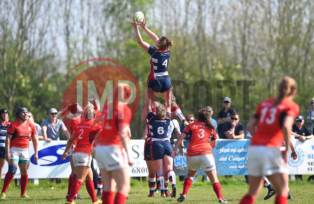 Amelia Buckland-Hurry of Bristol Ladies wins the line-out ball - Mandatory by-line: Paul Knight/JMP - 09/04/2017 - RUGBY - Cleve RFC - Bristol, England - Bristol Ladies v Saracens Women - RFU Women's Premiership Play-off Semi-Final