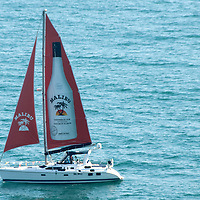 A boat promoting Malibu Caribbean rum on its sail cruises in the Santa Monica Bay Monday, July 4, 2011