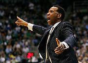 Acting Denver Nuggets acting head coach Adrian Dantley reacts after a foul call on Carmelo Anthony during the final seconds of the first half in Game 4 of the NBA Western Conference first-round playoff series in Salt Lake City, Sunday, April 25, 2010. (AP Photo/Colin E Braley)