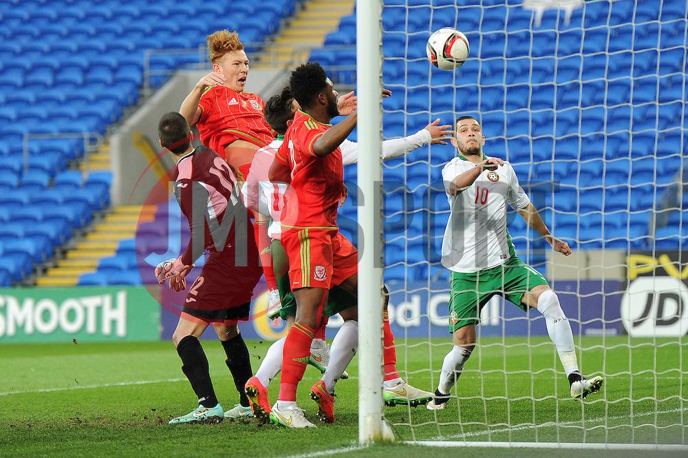 Josh Yorweth of Wales u21s (Cardiff City) scores a goal to make it 3-0 - Photo mandatory by-line: Dougie Allward/JMP - Mobile: 07966 386802 - 31/03/2015 - SPORT - Football - Cardiff - Cardiff City Stadium - Wales v Bulgaria - U21s International Friendly