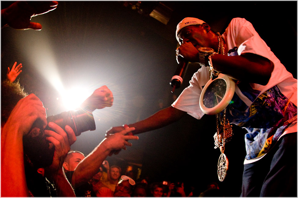 Flava Flav reaches out to his fans as Public Enemy perform at Montreal's Metropolis during the Montreal International Jazz Festival. PHOTO BY TIM SNOW