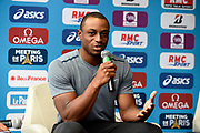 Ronnie Baker (USA) during press conference of Meeting de Paris 2018, Diamond League, at Hotel Marriott, in Paris, France, on June 29, 2018 - Photo Jean-Marie Hervio / KMSP / ProSportsImages / DPPI
