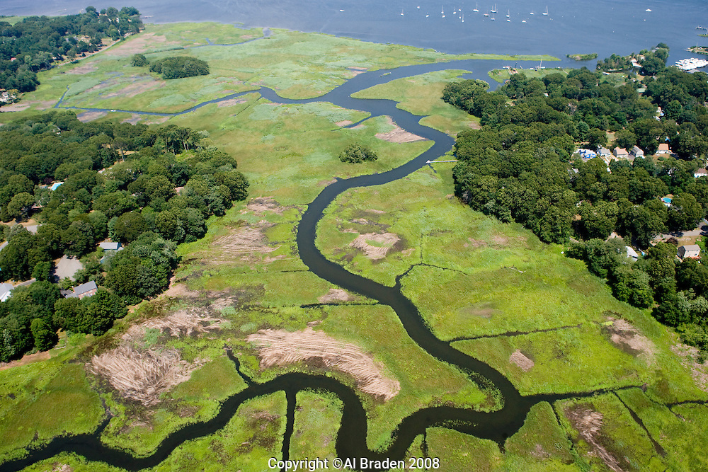 Aerial of Ayers Point along Connecticut River, Old Saybrook, CT.  Marsh restoration site.