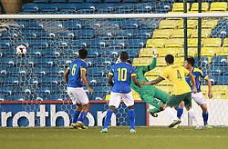 Tim Cahill of Australia scores his sides first goal - Photo mandatory by-line: Robin White/JMP - Tel: Mobile: 07966 386802 01/01/2014 - SPORT - FOOTBALL - The Den - Australia v Ecuador - World Cup Warm Up