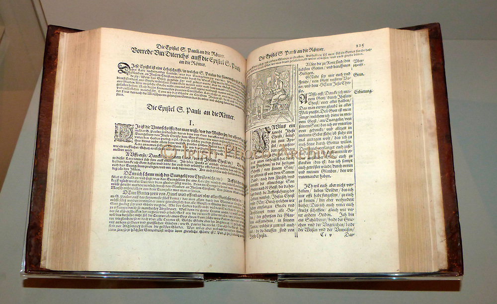 Martin Luther's translation of the new testament, first published 1522.  In the catholic church, priests interpreted the Bible on behalf of the congregation.  Luther dismissed the importance of priests, arguing that the divine text was straightforward enough for everyone to read and understand.