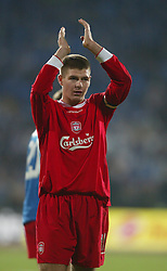 SOFIA, BULGARIA - Wednesday, March 3, 2004: Liverpool's Steven Gerrard applauds the fans after beating Levski Sofia 4-2 during the UEFA Cup 4th Round 2nd Leg match at the Vasil Levski Stadium. (Pic by David Rawcliffe/Propaganda)