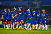 Chelsea players line up ahead of penalties to decide the tie during the EFL Cup semi final second leg match between Chelsea and Tottenham Hotspur at Stamford Bridge, London, England on 24 January 2019.