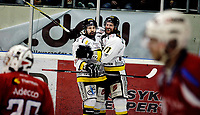 Ishockey<br /> 4. semifinale i NM<br /> Lørenskog Ishall 22.03.10<br /> Lørenskog - Stavanger Oilers<br /> Teemu Virtala og Petteri Lotila feirer scoring<br /> Foto: Eirik Førde