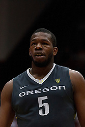 Feb 19, 2012; Stanford CA, USA; Oregon Ducks forward Olu Ashaolu (5) before a free throw against the Stanford Cardinal during the second half at Maples Pavilion. Oregon defeated Stanford 68-64. Mandatory Credit: Jason O. Watson-US PRESSWIRE