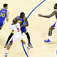 07 December 2016: Golden State Warriors guard Stephen Curry (30) drives past LA Clippers guard Chris Paul (3) on a screen set by Golden State Warriors forward Draymond Green (23) and faces LA Clippers center DeAndre Jordan (6) during the Golden State Warriors 115-98 victory over the Los Angeles Clippers, at the Staples Center, Los Angeles, California, USA.