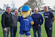 AFC Wimbledon manager Wally Downes and AFC Wimbledon first team coach Glyn Hodges with AFC Wimbledon fans during the EFL Sky Bet League 1 match between AFC Wimbledon and Doncaster Rovers at the Cherry Red Records Stadium, Kingston, England on 9 March 2019.