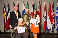 Granger native Hope Onstot (right), an animal science major, receives an Oklahoma State University Mable and Houston Ward, Sr. Memorial Endowed Scholarship from Houston Ward (left), Dixie Ward Greer, and Dr. Jewell Ward at the university's recent College of Agricultural Sciences and Natural Resources Scholarships and Awards Banquet. The scholarship is part of more than $1.4 million in scholarships and awards presented to CASNR students for the 2016-2017 academic year. (Photo by Todd Johnson)