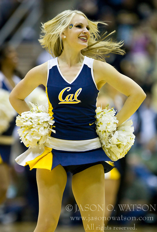 January 9, 2010; Berkeley, CA, USA;  A California Golden Bears cheerleader performs during the first half against the Southern California Trojans at the Haas Pavilion.  California defeated USC 67-59.