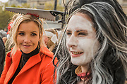Presenter Helen Skelton lends her support - Meeting in Trafalgar square covered in bandages - The March of the Mummies organised by Pregnant then Screwed to highlight discrimination in the workplace against women who have children.
