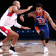 Westchester Knicks Guard TREY BURKE (23) drives by defender Delaware 87ers Guard JULIAN JACOBS (4) defends in the second half of a NBA G-league regular season basketball game between the Delaware 87ers and the Westchester Knicks (New York Knicks) Tuesday, Nov. 07, 2017, at The Bob Carpenter Sports Convocation Center in Newark, DEL