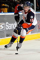 KELOWNA, CANADA, OCTOBER 29: Tim Bozon #15 of the Kamloops Blazers skates with the puck against the Kelowna Rockets as the Kamloops Blazers visit the Kelowna Rockets  on October 29, 2011 at Prospera Place in Kelowna, British Columbia, Canada (Photo by Marissa Baecker/Shoot the Breeze) *** Local Caption *** Tim Bozon;