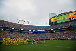CHARLOTTE, USA - Saturday, August 2, 2014: Liverpool and AC Milan players line-up before the International Champions Cup Group B match at the Bank of America Stadium on day thirteen of the club's USA Tour. (Pic by David Rawcliffe/Propaganda)