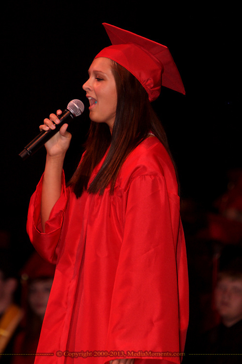 Lisa Rauch sings during the West Carrollton High School one hundred and first commencement at the Schuster Center in downtown Dayton, Thursday, May 26, 2010.