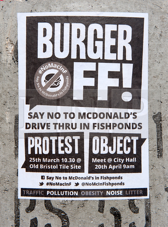 """© Licensed to London News Pictures. 25/03/2017. Bristol, UK. A """"musical parade"""" protest by the """"Say No to McDonalds in Fishponds"""" group, part of a two-year campaign against the fast-food chain's proposed new drive-through McDonalds on Fishponds Road. Plans for a two-storey burger bar in Fishponds, which would be built on the site of The Old Tile Factory, were refused by Bristol City Council in February 2015 amid congestion fears and the site's close proximity to a school. A public appeal by McDonalds was meant to be heard in November 2016 but had to be adjourned after McDonald's' barrister was """"not available"""". The appeal has bee re-scheduled until 20 April 2017, and is expected to last six days.  Photo credit : Simon Chapman/LNP"""