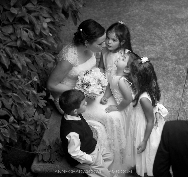 A bride talks with little girls after her wedding at the Berkeley City Club.