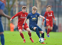 KIRKBY, ENGLAND - Saturday, January 26, 2019: Liverpool's Morgan Boyes (L) and Manchester United's Brandon Williams during the FA Premier League match between Liverpool FC and Manchester United FC at The Academy. (Pic by David Rawcliffe/Propaganda)