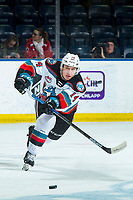 KELOWNA, BC - JANUARY 4:  Elias Carmichael #14 of the Kelowna Rockets passes the puck against the Vancouver Giants at Prospera Place on January 4, 2020 in Kelowna, Canada. (Photo by Marissa Baecker/Shoot the Breeze)