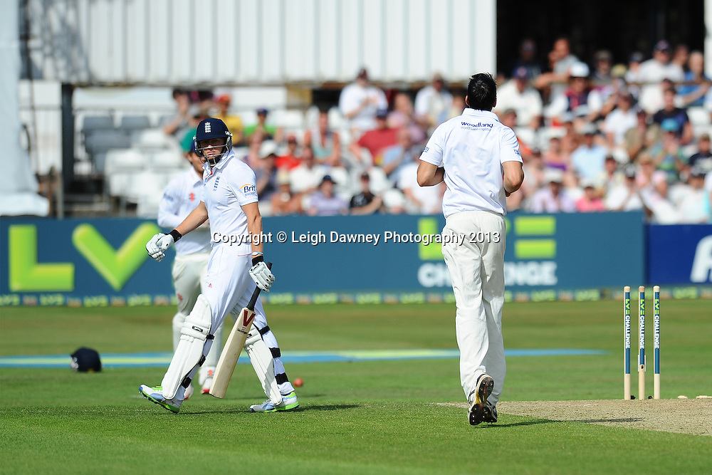 Jonny Bairstow of England gets bowled out by Sajid Mahmood of Essex during England v Essex first day of a four day Ashes warm up game at the Essex County Cricket Ground, 30.06.13.  Credit: © Leigh Dawney Photography. Self Billing where applicable. Tel: 07812 790920