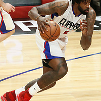 25 April 2017: LA Clippers center DeAndre Jordan (6) drives during the Utah Jazz 96-92 victory over the Los Angeles Clippers, during game 5 of the first round of the Western Conference playoffs, at the Staples Center, Los Angeles, California, USA.