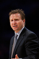 17 January 2011: Head coach Scott Brooks of the Oklahoma Thunder coaches against the Los Angeles Lakers during the Los Angeles Lakers 101-94 victory over the Thunder at the STAPLES Center in Los Angeles, CA.