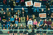 West High hockey fans gather in the stands to cheer on the team at the 2015 State Hockey Championships at the Curtis D. Menard Memorial Sports Center Saturday night. WHS won 4-3.