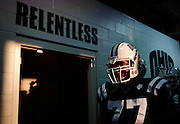 Ohio University offensive lineman Eric Herman stands by the locker room door as the team prepares to take the field in their first home game of the season Sept. 10, 2011 against Gardener Webb University at Peden Stadium in Athens, OH. Ohio won 30-3.