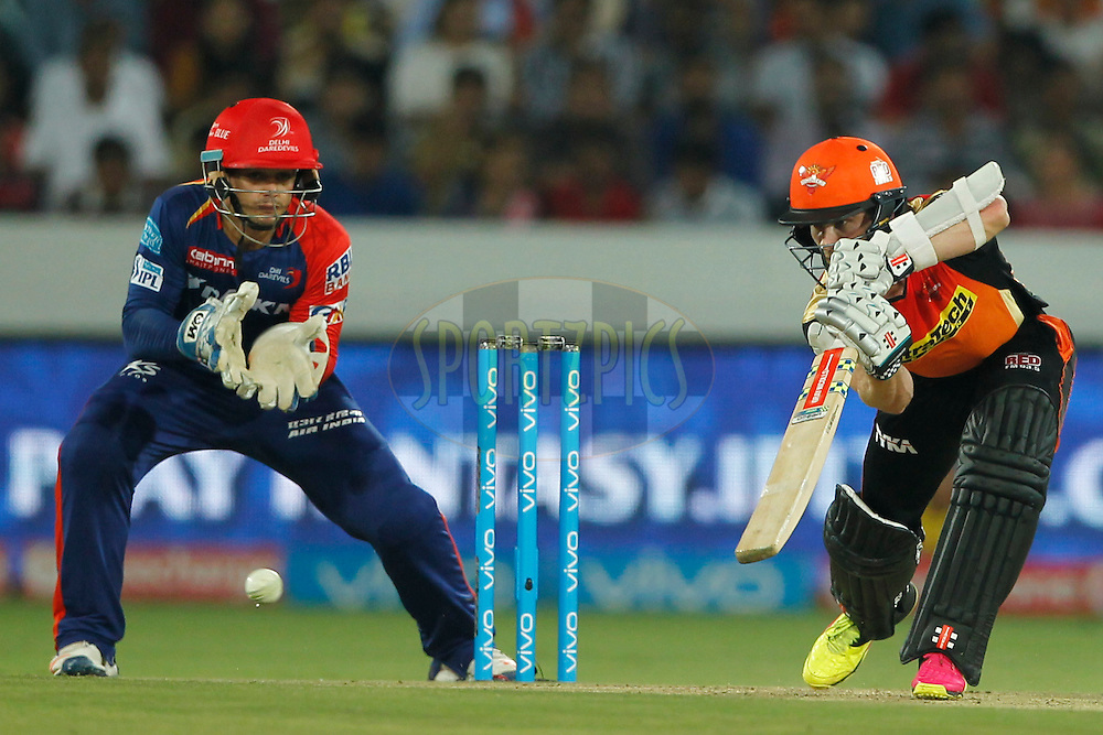 Kane Williamson of Sunrisers Hyderabad bats during match 42 of the Vivo IPL 2016 (Indian Premier League ) between the Sunrisers Hyderabad and the Delhi Daredevils held at the Rajiv Gandhi Intl. Cricket Stadium, Hyderabad on the 12th May 2016<br /> <br /> Photo by Deepak Malik / IPL/ SPORTZPICS