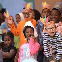 "Adam Robison | BUY AT PHOTOS.DJOURNAL.COM<br /> Verona Elementary School first graders laugh and have fun as they perform their ""Thanksgiving Around The World"" program Thursday afternoon to parents and other classes at the multi-purpose building at Verona Elementary School."