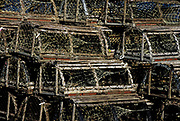 Traditional wooden lobster traps, Cape Cod, Massachusettes.
