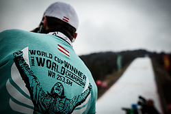 T-shirt of new world cup champion Stefan Kraft of Austria during trophy ceremony after Ski Flying Hill Men's Individual Competition at Day 4 of FIS Ski Jumping World Cup Final 2017, on March 26, 2017 in Planica, Slovenia. Photo by Grega Valancic / Sportida