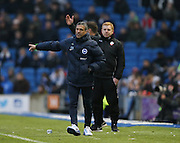 Brighton Manager, Chris Hughton and Bolton Wanderers manager, Neil Lennon during the Sky Bet Championship match between Brighton and Hove Albion and Bolton Wanderers at the American Express Community Stadium, Brighton and Hove, England on 13 February 2016.