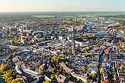 Nederland, Utrecht, Amersfoort, 24-10-2013. Centrum met Onze Lieve Vrouwetoren, links de Stadsring en gebeid rond het station. Bossen van het Gooi aan de horizon. <br /> Old town of Amsersfoort with church tower, modern high rise around it and the country in the back . <br /> luchtfoto (toeslag op standaard tarieven);<br /> aerial photo (additional fee required);<br /> copyright foto/photo Siebe Swart.