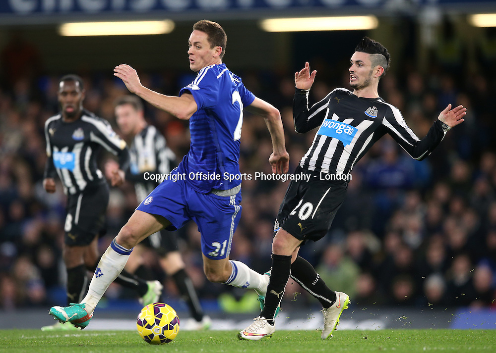 10 January 2015 Premier League Football - Chelsea v Nerwcastle United ;  Nemanja Matic of Chelsea and Remy Cabella of Newcastle.<br /> Photo: Mark Leech