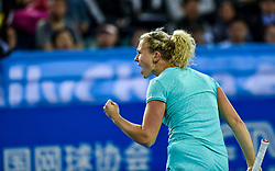 SHENZHEN, Jan. 5, 2018  Katerina Siniakova of the Czech Republic celebrates after winning her semi-final match against Maria Sharapova of Russia at the WTA Shenzhen Open tennis tournament in Shenzhen, China, Jan. 5, 2018. Katerina Siniakova won 2-1. (Credit Image: © Mao Siqian/Xinhua via ZUMA Wire)