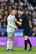 Referee Andre Marriner has words with Everton striker Wayne Rooney (10) during the Premier League match between Leicester City and Everton at the King Power Stadium, Leicester, England on 29 October 2017. Photo by Jon Hobley.