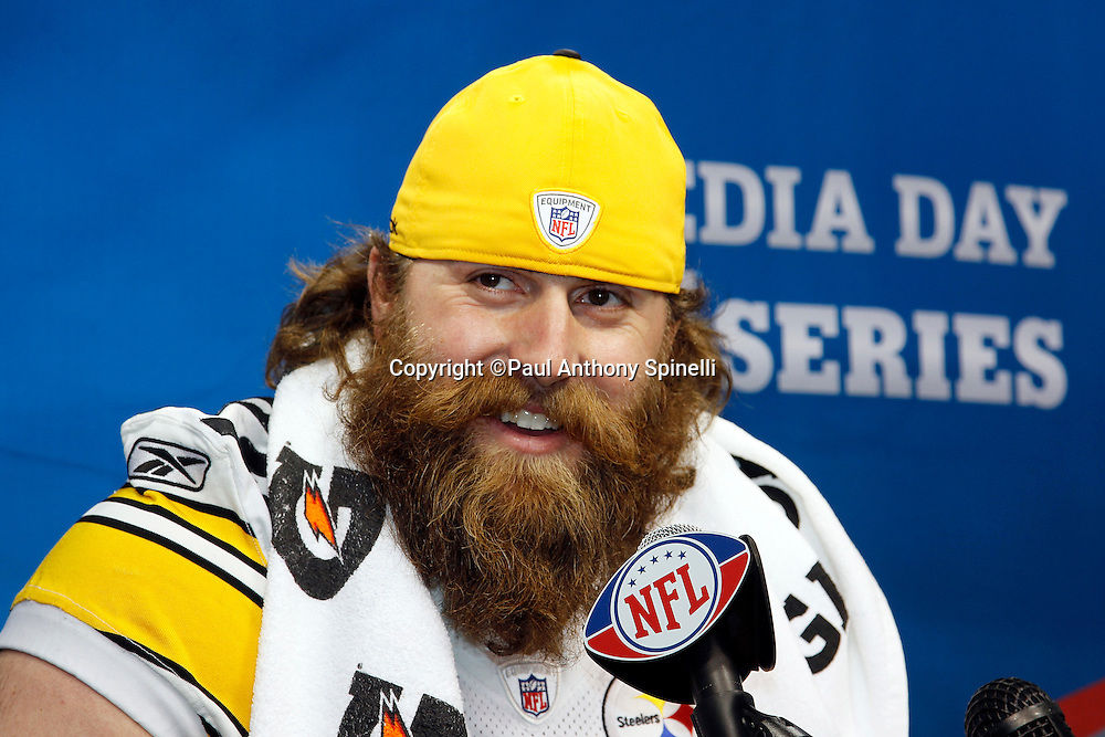 Pittsburgh Steelers defensive end Brett Keisel (99) smiles as he speaks to the press at Super Bowl XLV media day prior to NFL Super Bowl XLV against the Green Bay Packers. Media day was held on Tuesday, February 1, 2011 in Arlington, Texas. ©Paul Anthony Spinelli
