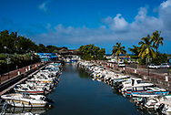St. Gilles les Bain, Reunion -- January 20, 2018 -- Pleasure boats are anchored in a small harbor on the island of Reunion. Editorial use only.