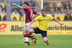 19.10.2013, Signal Iduna Park, Dortmund, GER, 1. FBL, Borussia Dortmund vs Hannover 96, 9. Runde, im Bild Zweikampf zwischen Szabolcs Huszti (#10 Hannover), Sven Bender (#06 Dortmund) // during the German Bundesliga 9th round match between Borussia Dortmund and Hannover 96 at the Signal Iduna Park in Dortmund, Germany on 2013/10/19. EXPA Pictures © 2013, PhotoCredit: EXPA/ Eibner-Pressefoto/ Kurth<br /> <br /> *****ATTENTION - OUT of GER*****